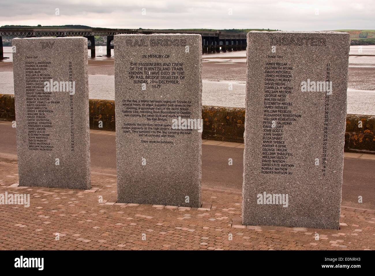 Memorial Sculptures with passengers and crew names that lost their lives from The 1879 Tay Railway Bridge Disaster Stock Photo