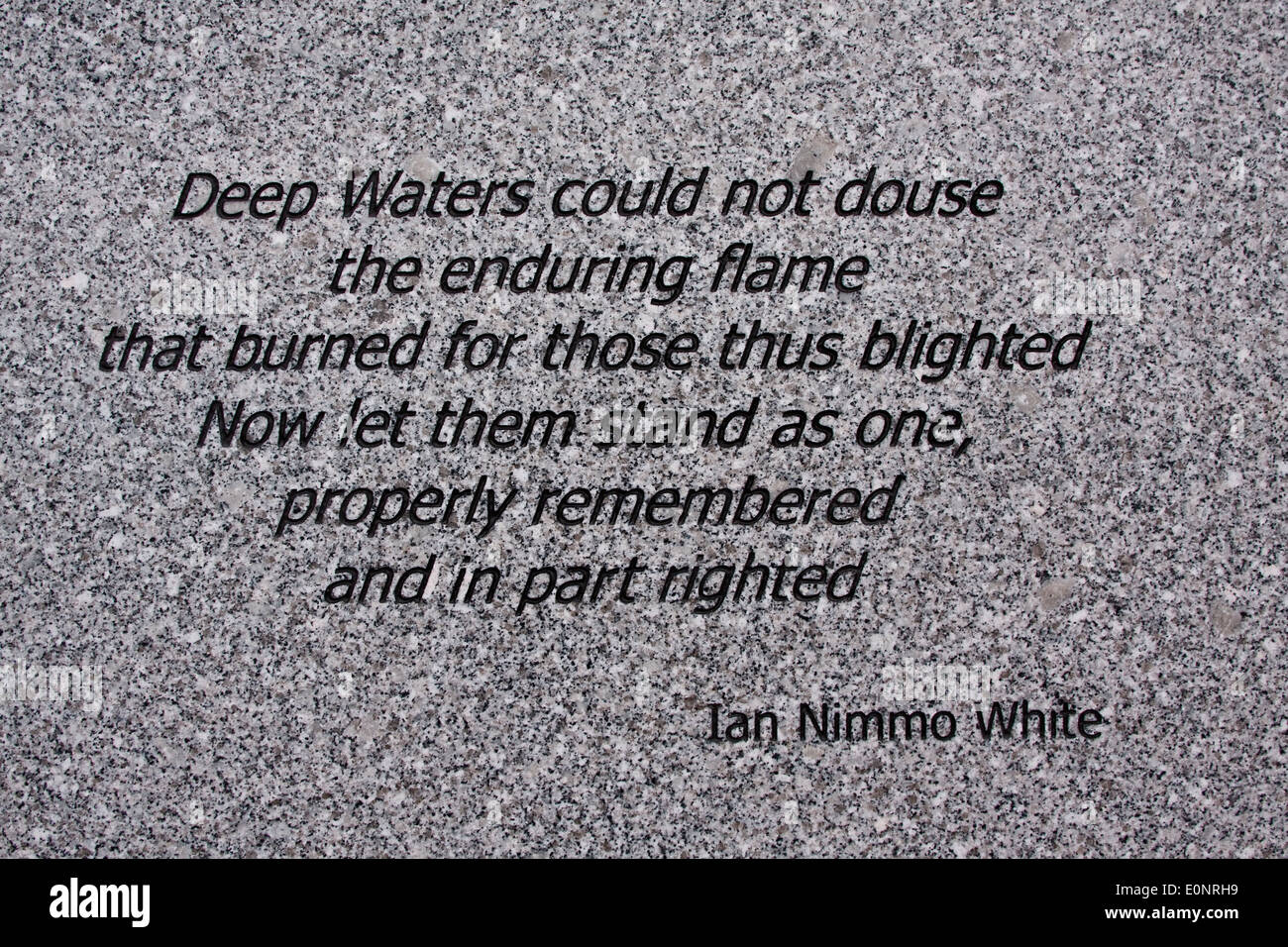 """Poem by """"Ian Nimmo White"""" engraved on a marble memorial stone about The 1879 Tay Railway Bridge Disaster in Dundee, Stock Photo"""