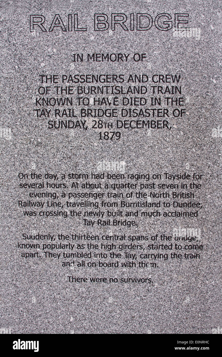 In Memory to all passengers and crew that lost their lives on 28th December 1879 Tay Railway Bridge Disaster in Stock Photo