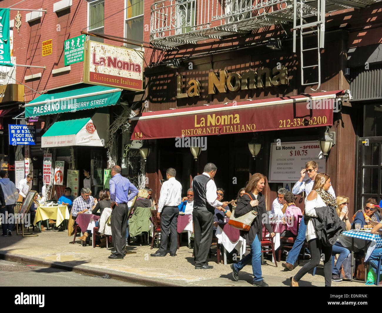 La Nonna Italian Restaurant Little Italy Nyc Stock Photo