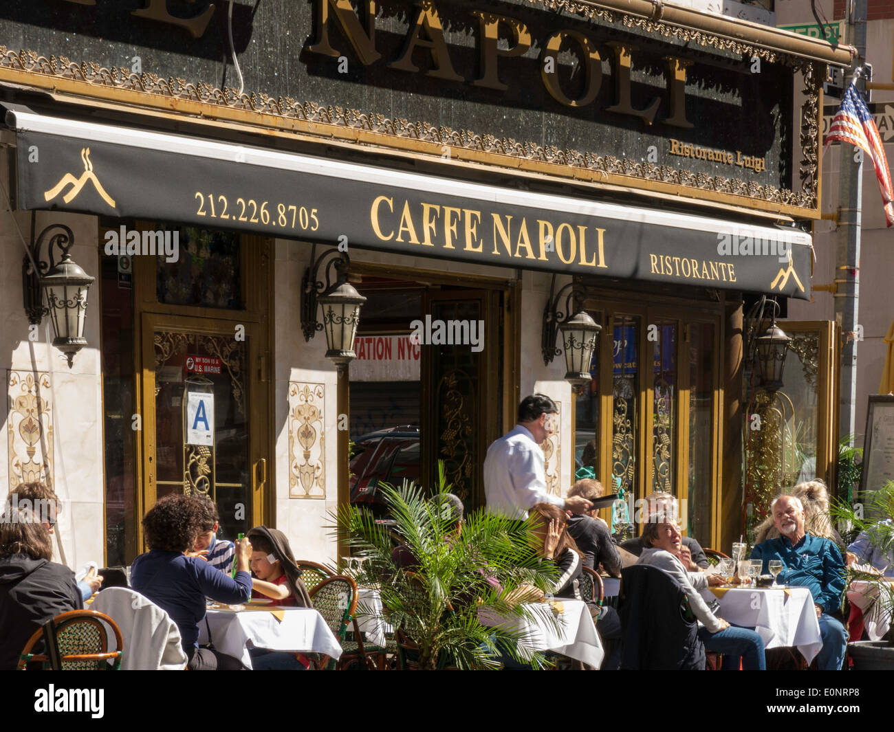 Caffe Napoli Italian Restaurant Little Italy Nyc Stock