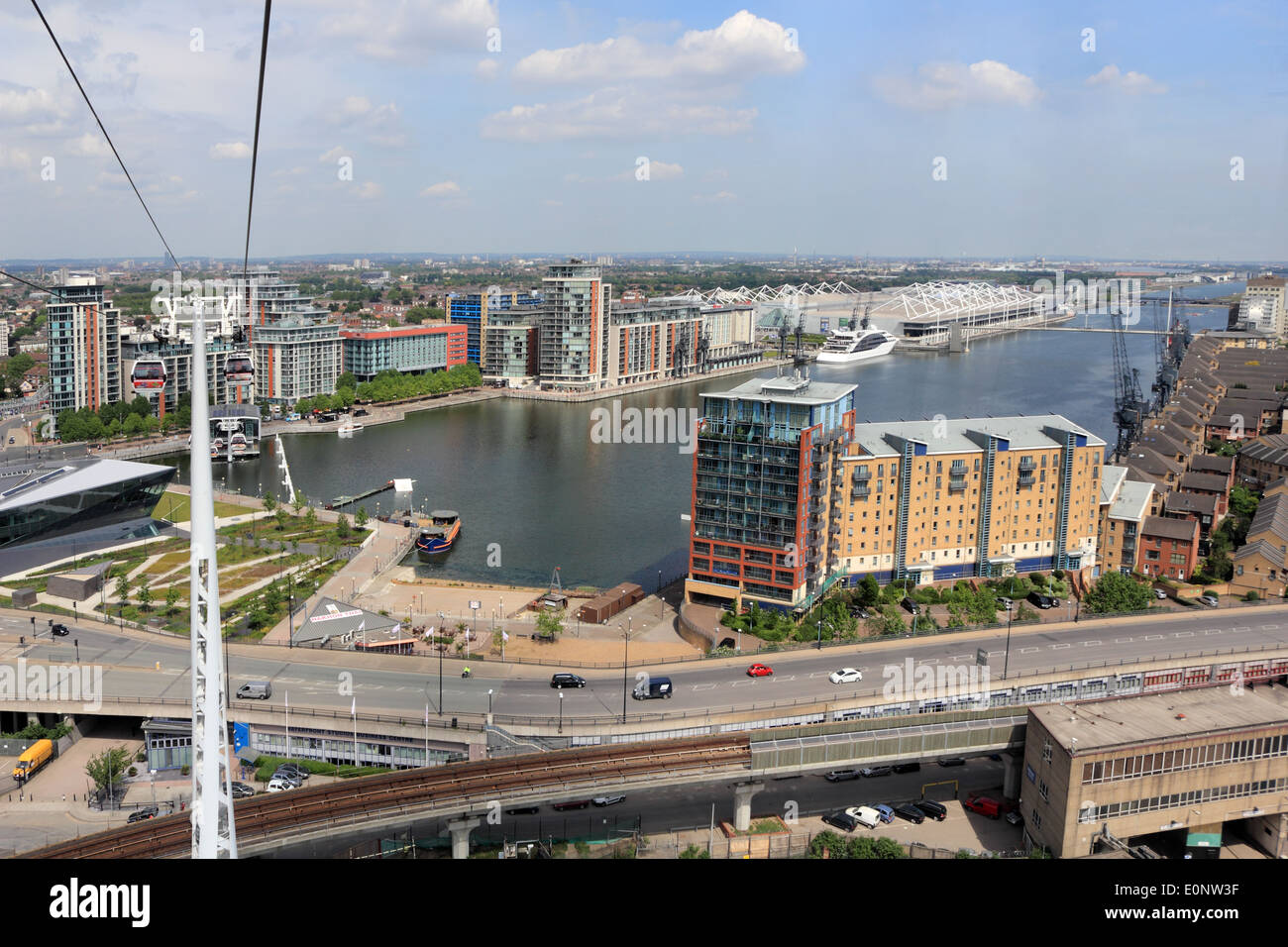Emirates Air Line Cable Car at Royal Victoria Dock, London, England, UK. - Stock Image