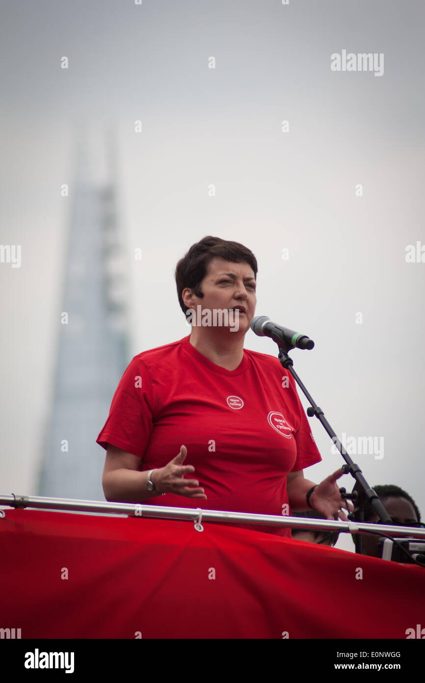 London, UK. 17th May, 2014. Valerie Shawcross AM CBE, Labour London Assembly Spokesperson for Transport and Chair of the London Assembly Transport Committee, speaking at the London Cycling Campaign's Space 4 Cycling Big Ride Credit:  Zefrog/Alamy Live News - Stock Image
