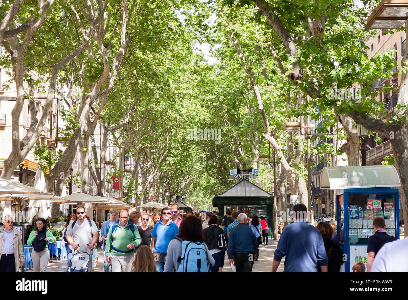 La Rambla  in Barcelona, Spain. - Stock Image