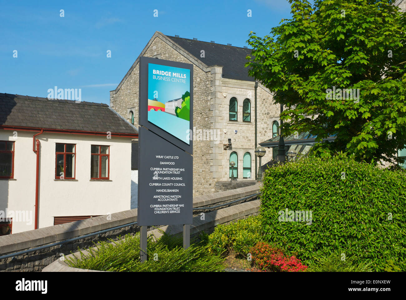 Sign for Bridge Mills Business Centre, Kendal town, Cumbria, England UK - Stock Image