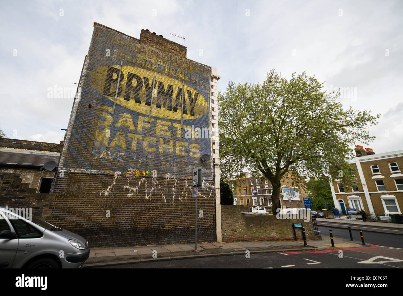 Bryant & May 'Brymay' safety matches vintage advert in South East London. - Stock Image