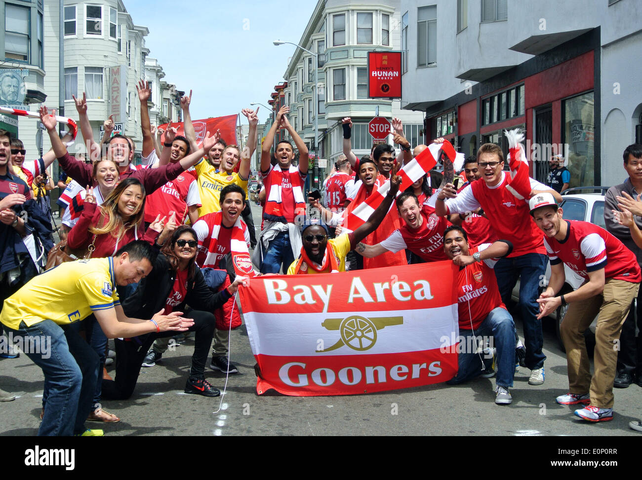 San Francisco, CA, USA. 18th May, 2014. happy Arsenal  Bay area Gooners soccer fans clebrate victory over Hull  city FC on Grant street San Francisco following arsenal's FA cup championship, the first in nine years. Credit:  Bob Kreisel/Alamy Live News - Stock Image