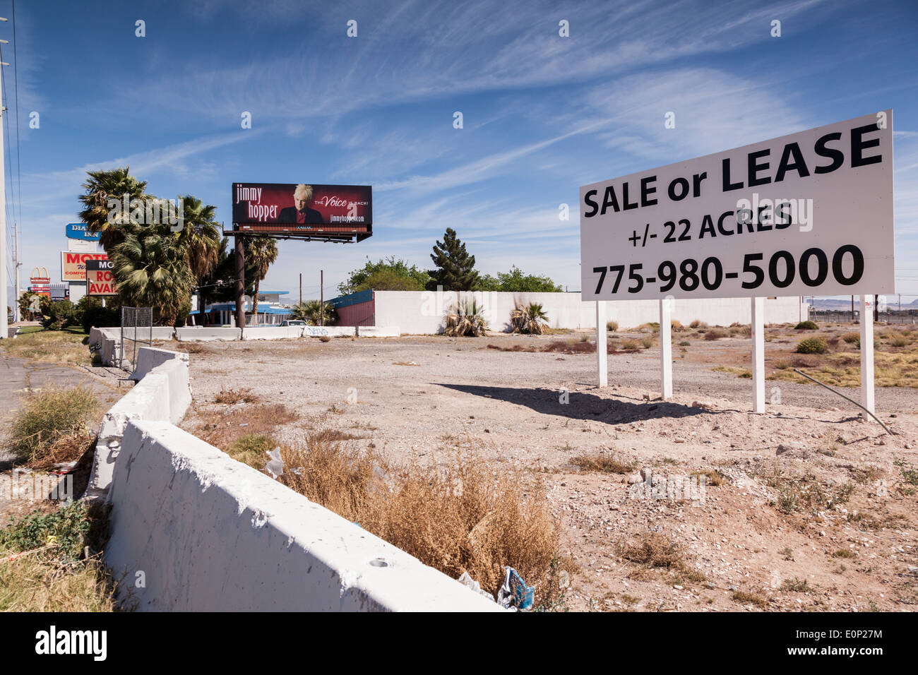 Vacant lot for sale at the end of The Strip in Las Vegas - Stock Image