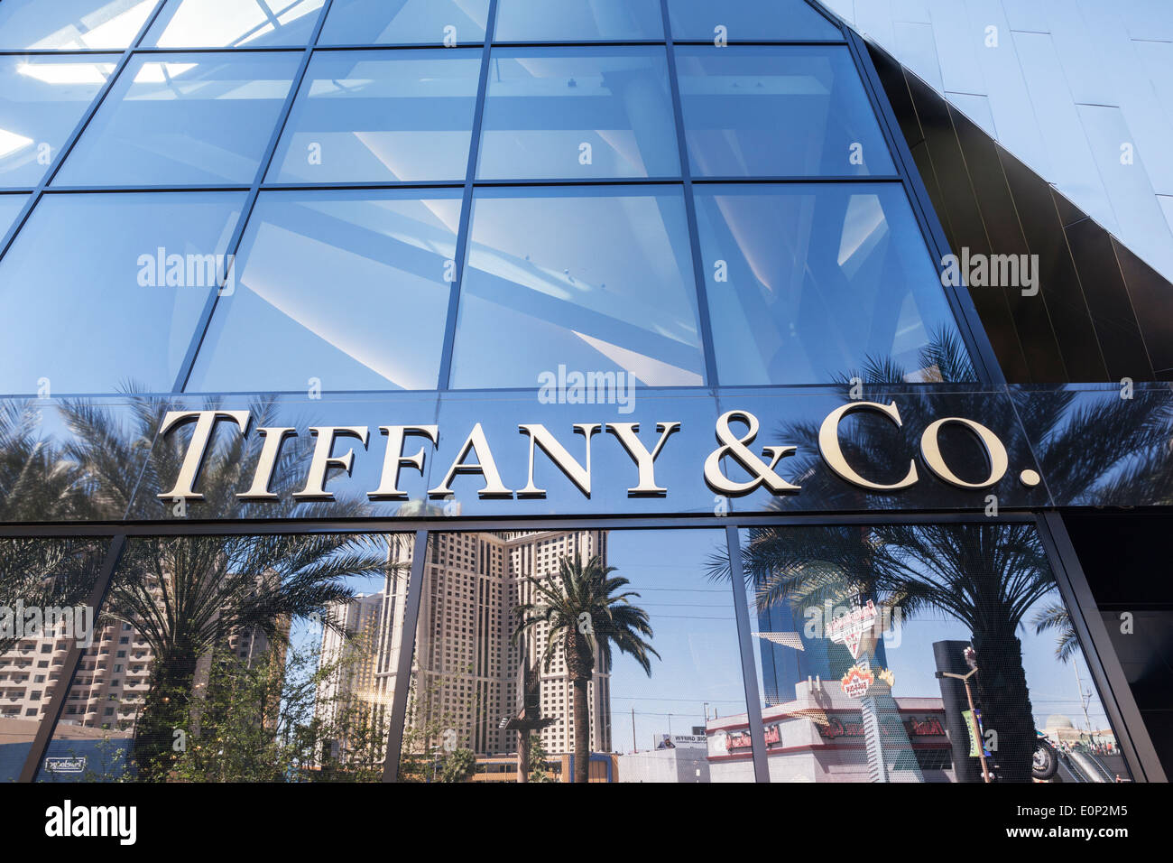 Tiffany and Co logo on a shop front in Las Vegas. - Stock Image