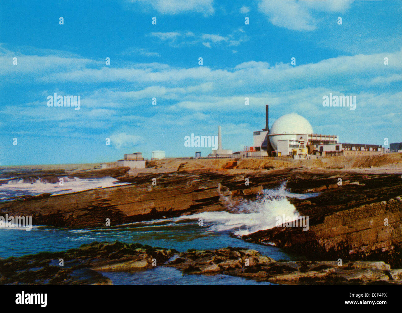 Vintage postcard of Dounreay Nuclear Power Station Caithness Scotland - Stock Image