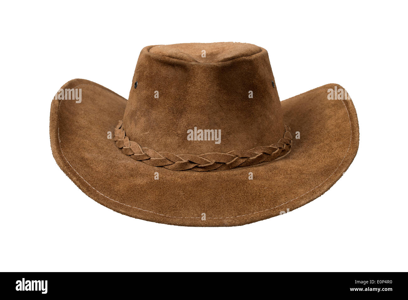 ad33bc87817 Brown cowboy leather hat isolated over white with clipping path - Stock  Image
