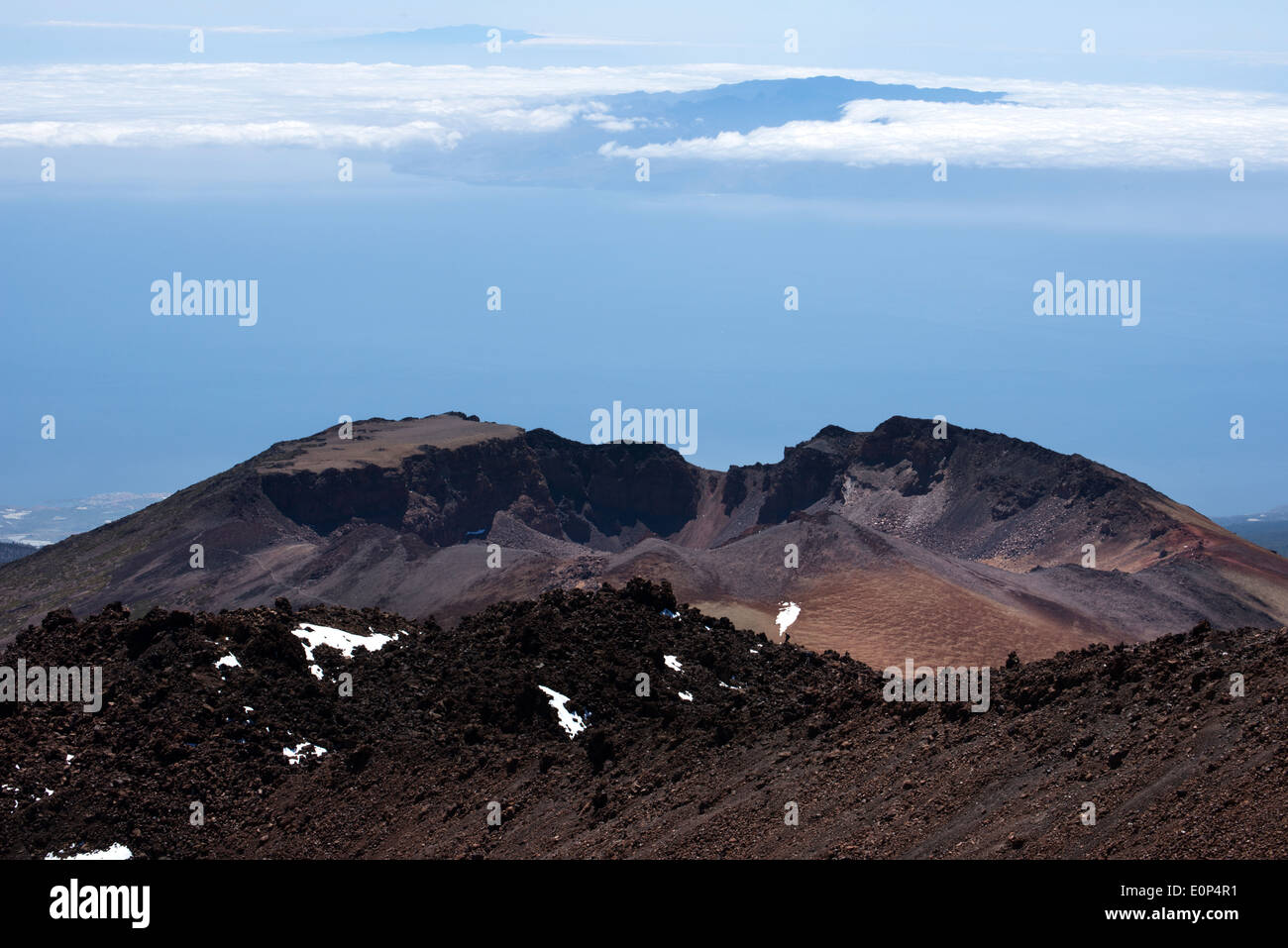 view from teide to pico viejo with the islands of la gomera and el hierro in background, tenerife, canary - Stock Image