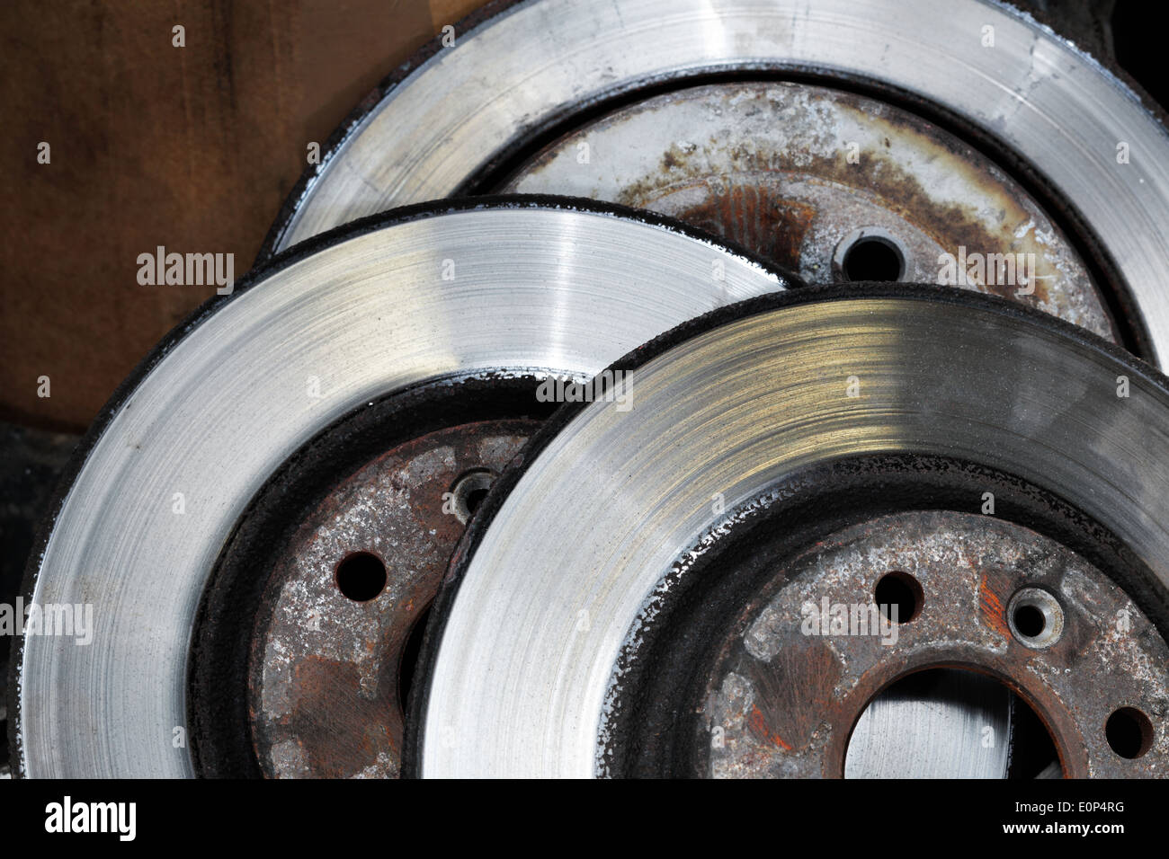 A Pile of worn out brake disks - Stock Image