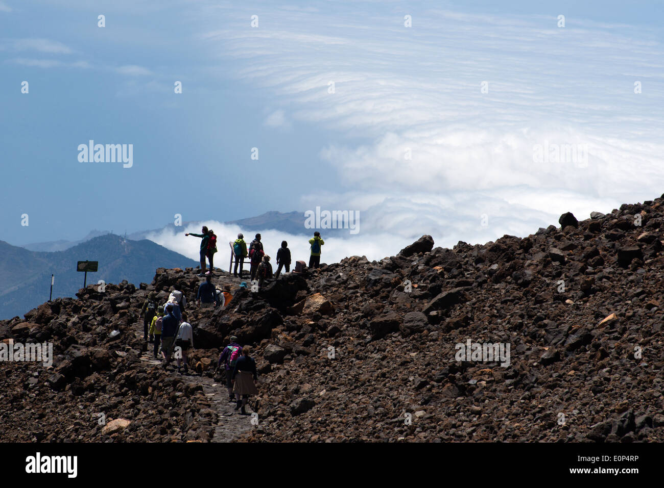 hiking path on mount teide with viewpoint to national park teide, tenerife - Stock Image