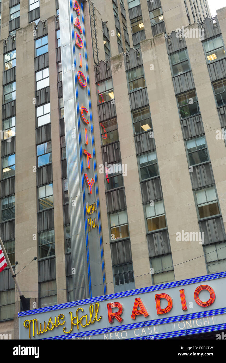 Radio City Music Hall facade - Stock Image