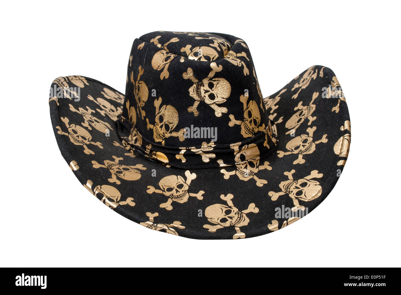 Black pirate hat isolated over white with clipping path - Stock Image