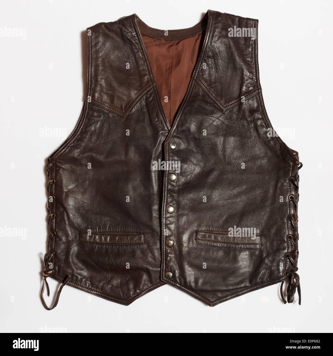 leather vest - Stock Image