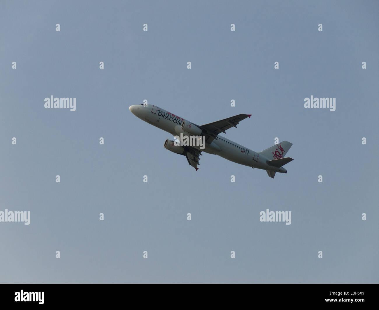 Dragon Air, passenger flight, Airbus A320-232, B-HSU, Hong Kong International Airport, Chek Lap Kok Airport - Stock Image