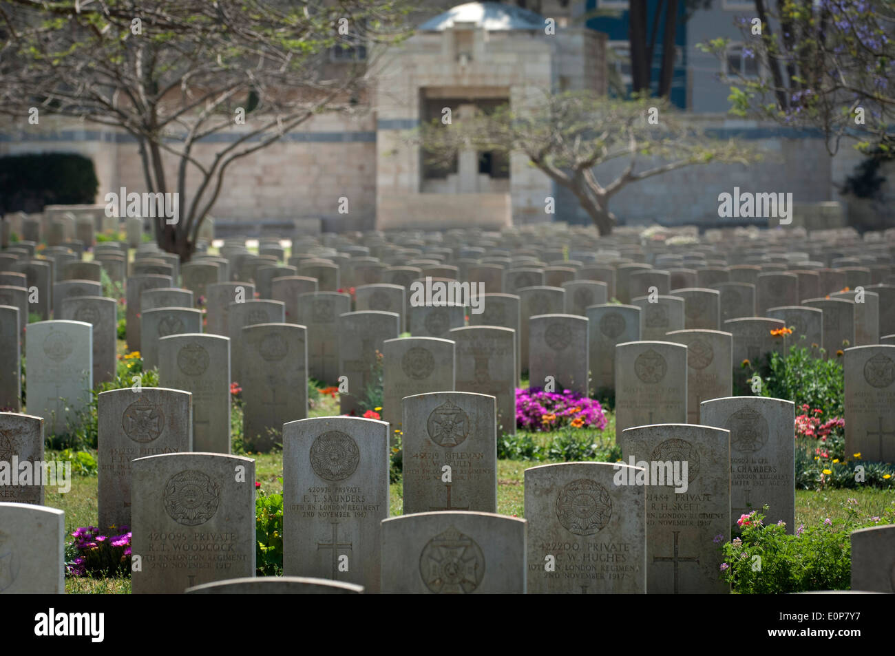 The graves of commonwealth soldiers who died in the first and second world war buried at Gaza War Cemetery,Gaza City. - Stock Image