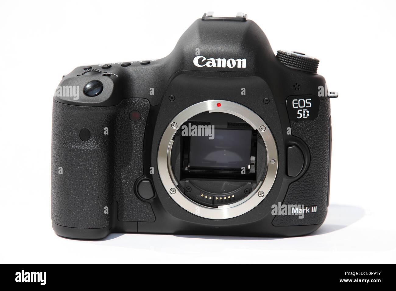 A Canon 5D Mark III digital single lens reflex (SLR) camera. - Stock Image
