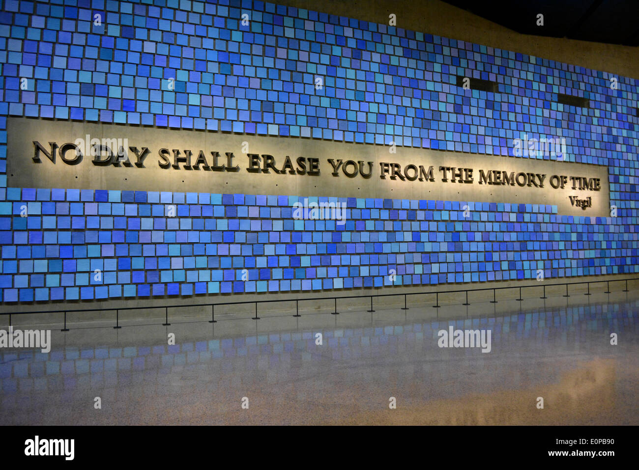 New York, NY, USA. 16th May, 2014. Virgil quote in Memorial Hall at the newly opened 9/11 Museum at Ground Zero in New York City. Credit:  Christopher Penler/Alamy Live News - Stock Image