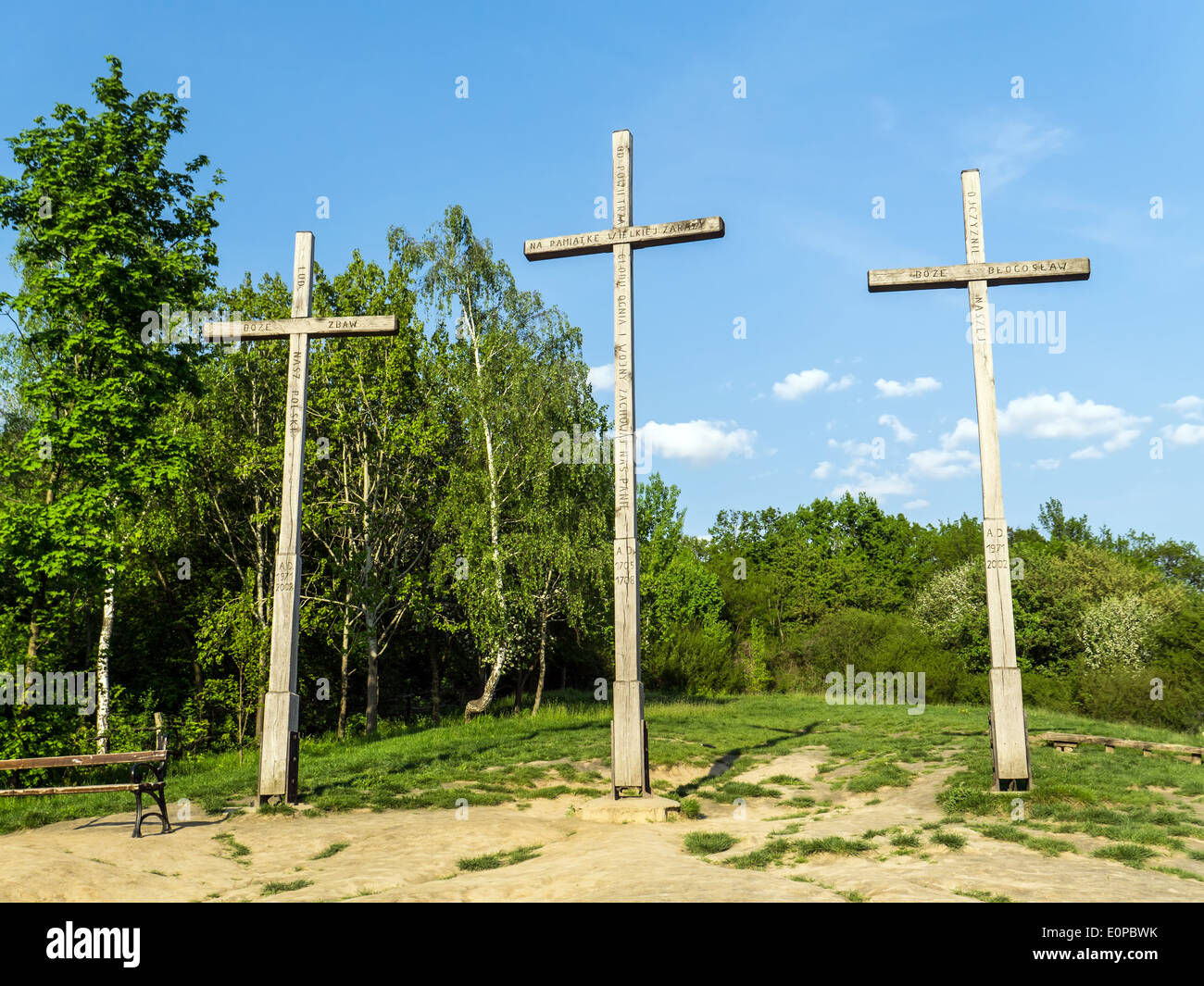 Three Crosses Mountain, Kazimierz Dolny, Poland - Memorial commemorating a plague that decimated the town's population - Stock Image