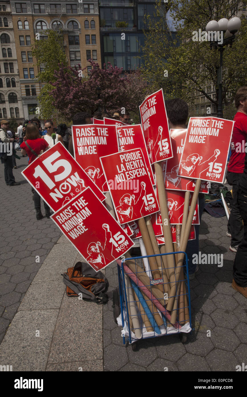 Annual May Day rally in Union Square supporting, illegals, fair wages, socialist revolution, social justice & the 99%. NYC. - Stock Image