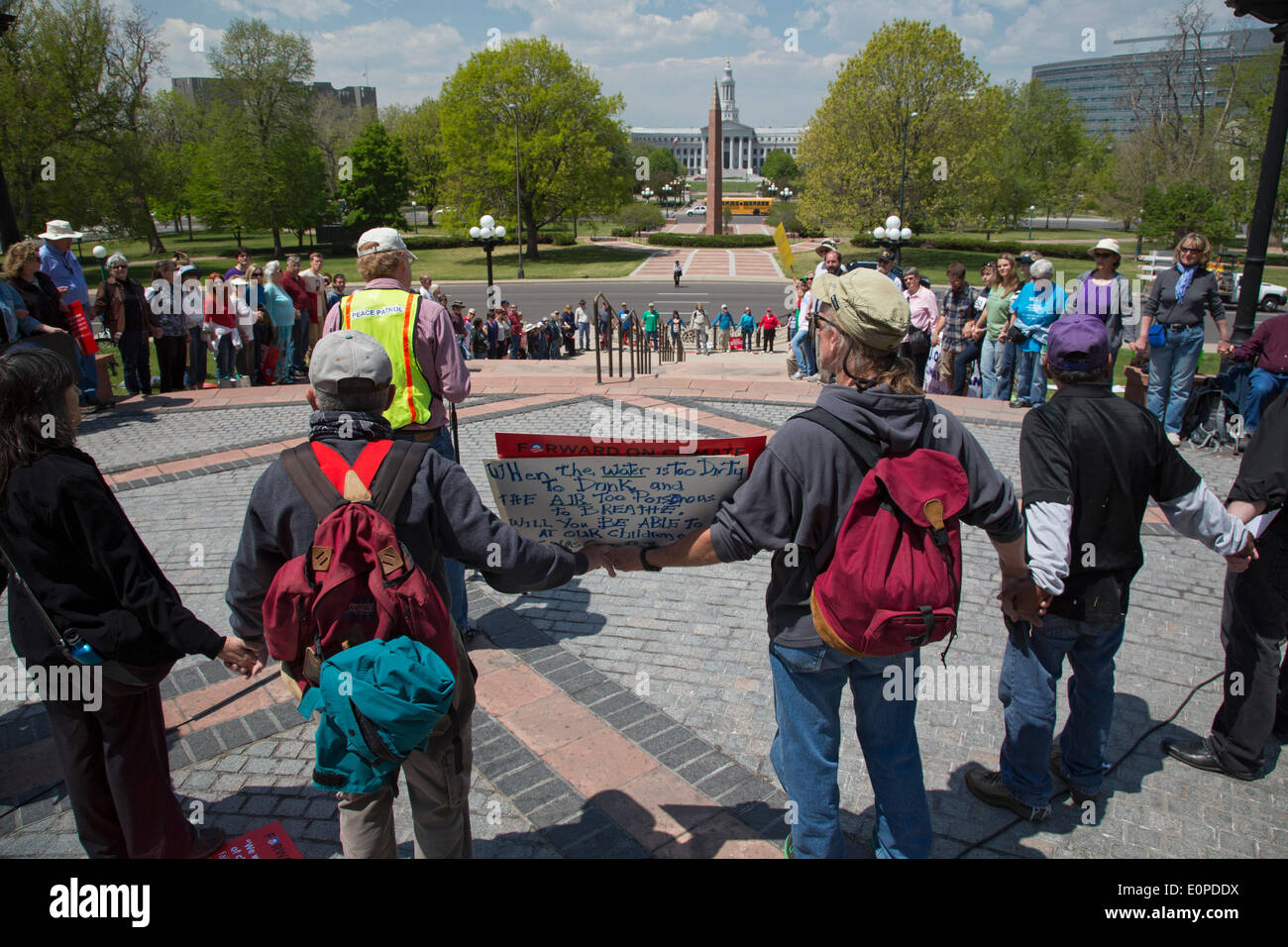 Denver, Colorado. Environmentalists rally at the Colorado state capitol to oppose the planned Keystone XL pipeline, Stock Photo