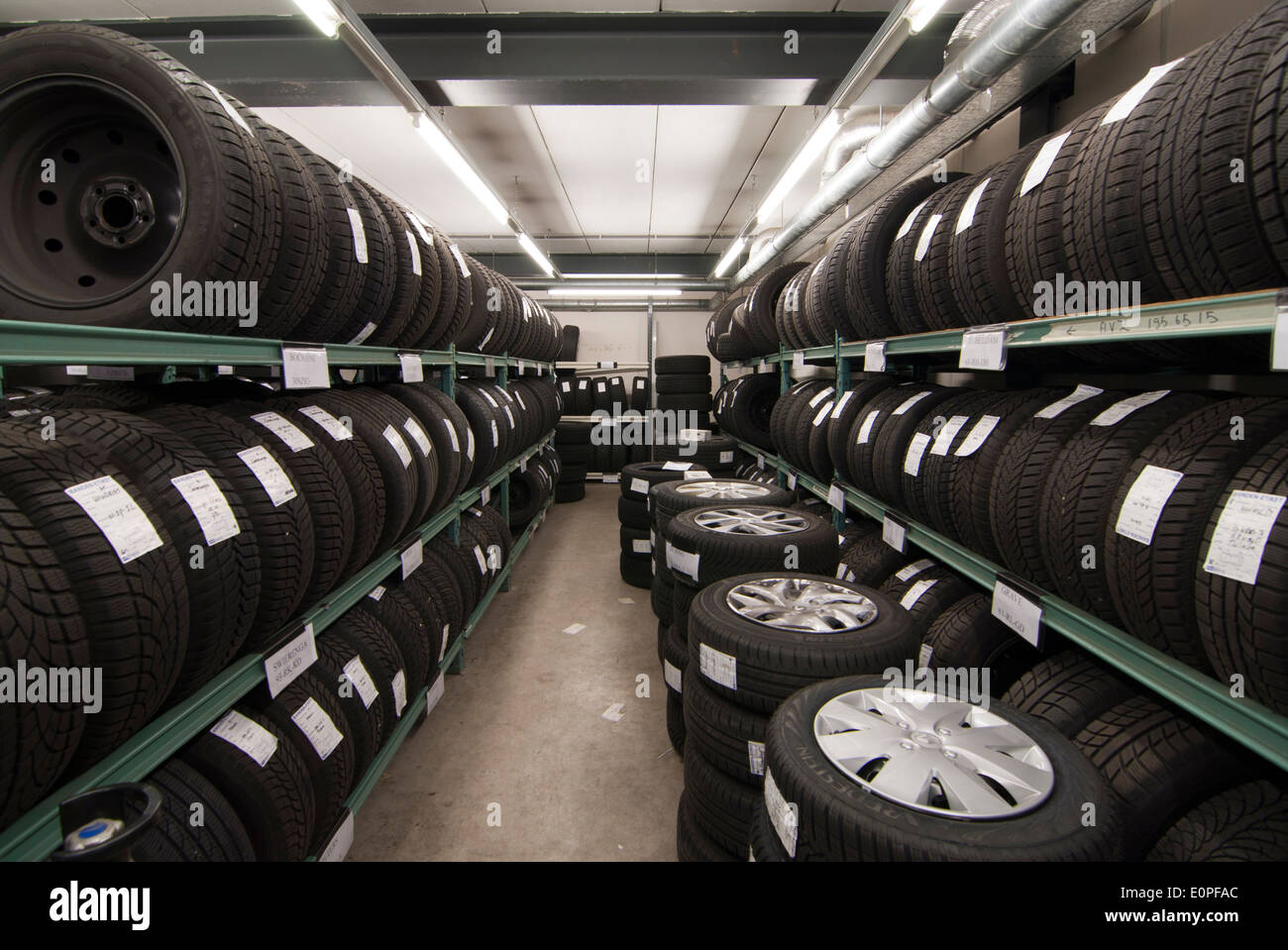storage space for car tires - Stock Image