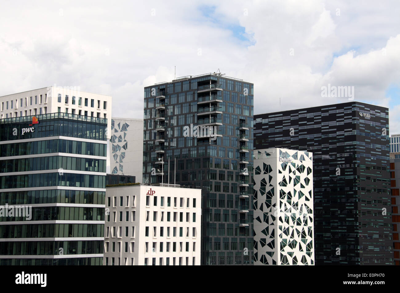 New Central Oslo Skyline in the Bjorvika District opposite the Opera House - Stock Image