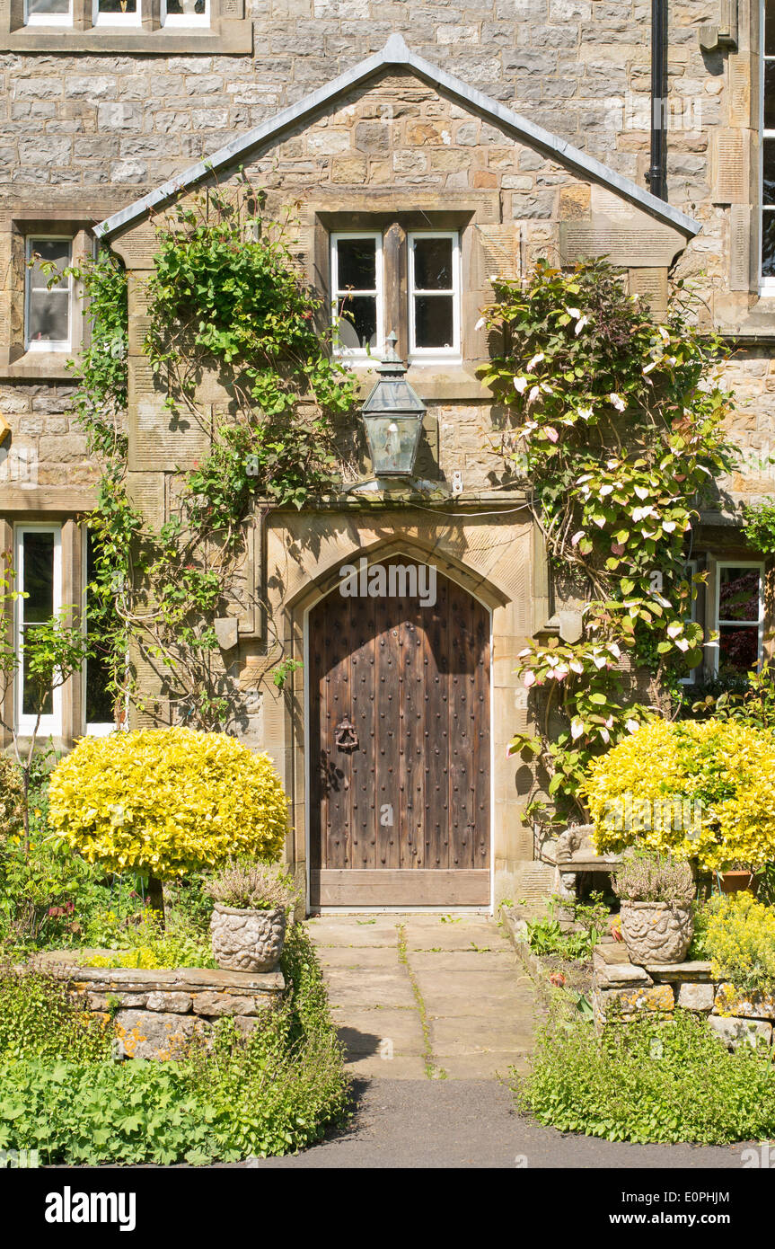 Doorway to period detached house Bolton-by-Bowland, Lancashire, England, UK - Stock Image