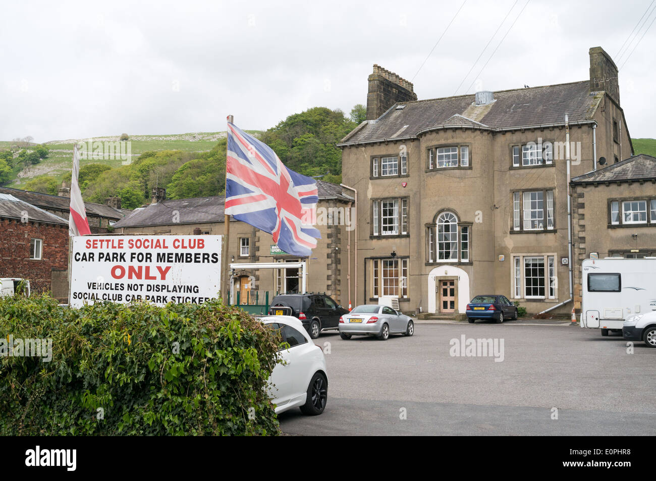 Flags Flying Outside Settle Social Club Members Only North Yorkshire England UK