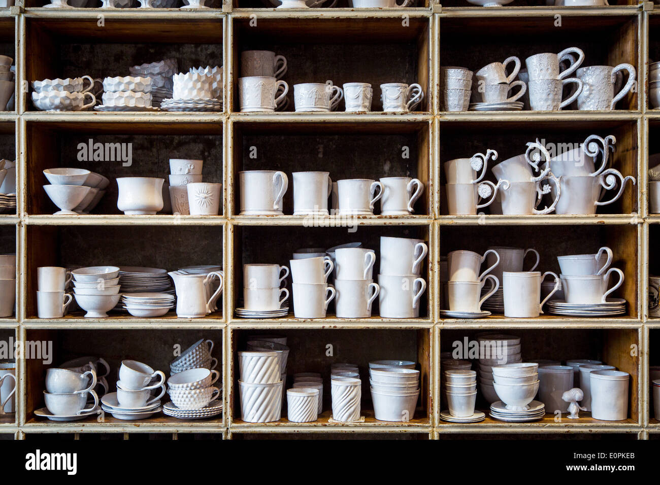 hand made pottery by designer astier de villatte on display at their stock photo 69339715 alamy. Black Bedroom Furniture Sets. Home Design Ideas