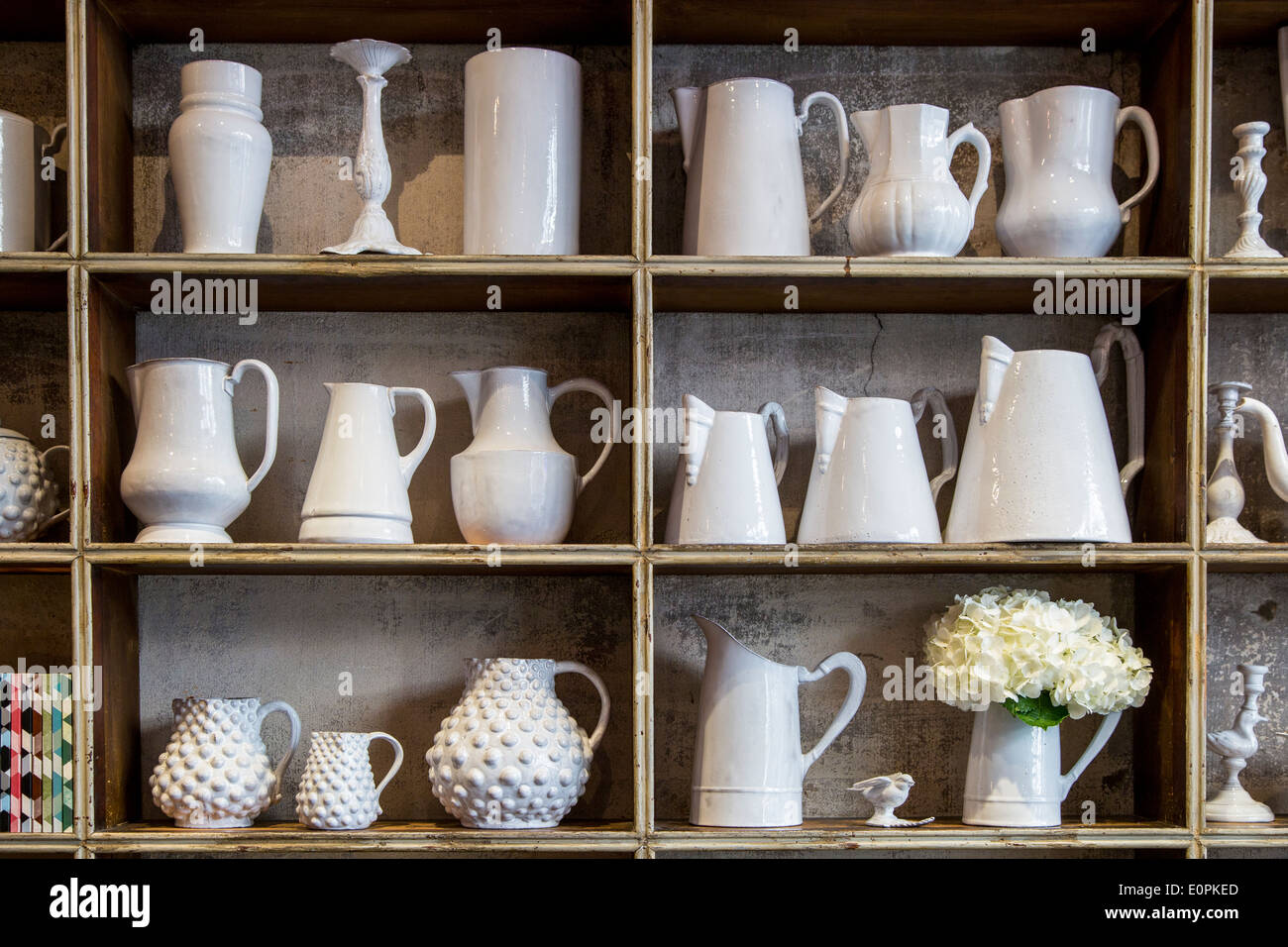 hand made pottery by designer astier de villatte on display at their stock photo 69339717 alamy. Black Bedroom Furniture Sets. Home Design Ideas