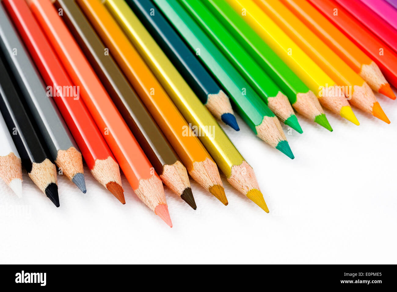 color pencil on white background - Stock Image