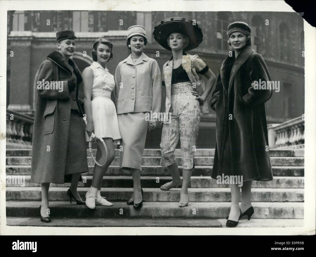 Nov. 11, 1956 - Fashion and beauty parade at Albert Hall. Five of the styles on show: A preview was held at the Royal Albert Hall today of the seven day fashion and beauty Parade at which styles by London's leading designers will be shown. Half the admission fees throughout the show will be donated to Hungarian Relief - Stock Image