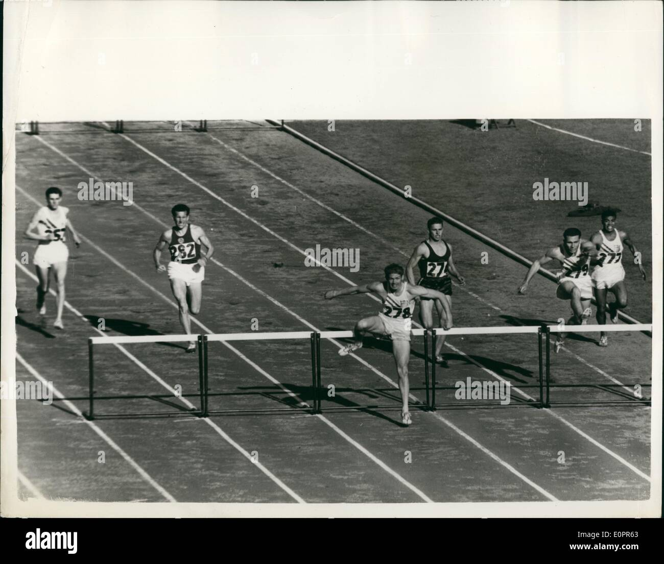 Nov. 11, 1956 - Olympic Games in Melbourne 400 metres Hurdles Final : Photo shows G.Davis (U.S.A.), No. 278, leads - Stock Image