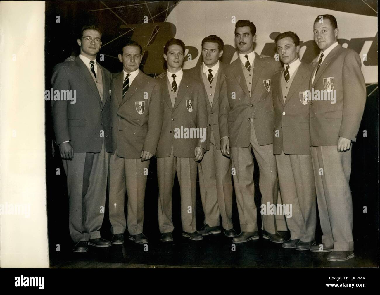 Nov. 11, 1956 - French fencing team for Melbourne Olympics Games: From left to right: Gavot, Nigron, Closset, Coicaud, Mouyal, Roulot and Netter. - Stock Image