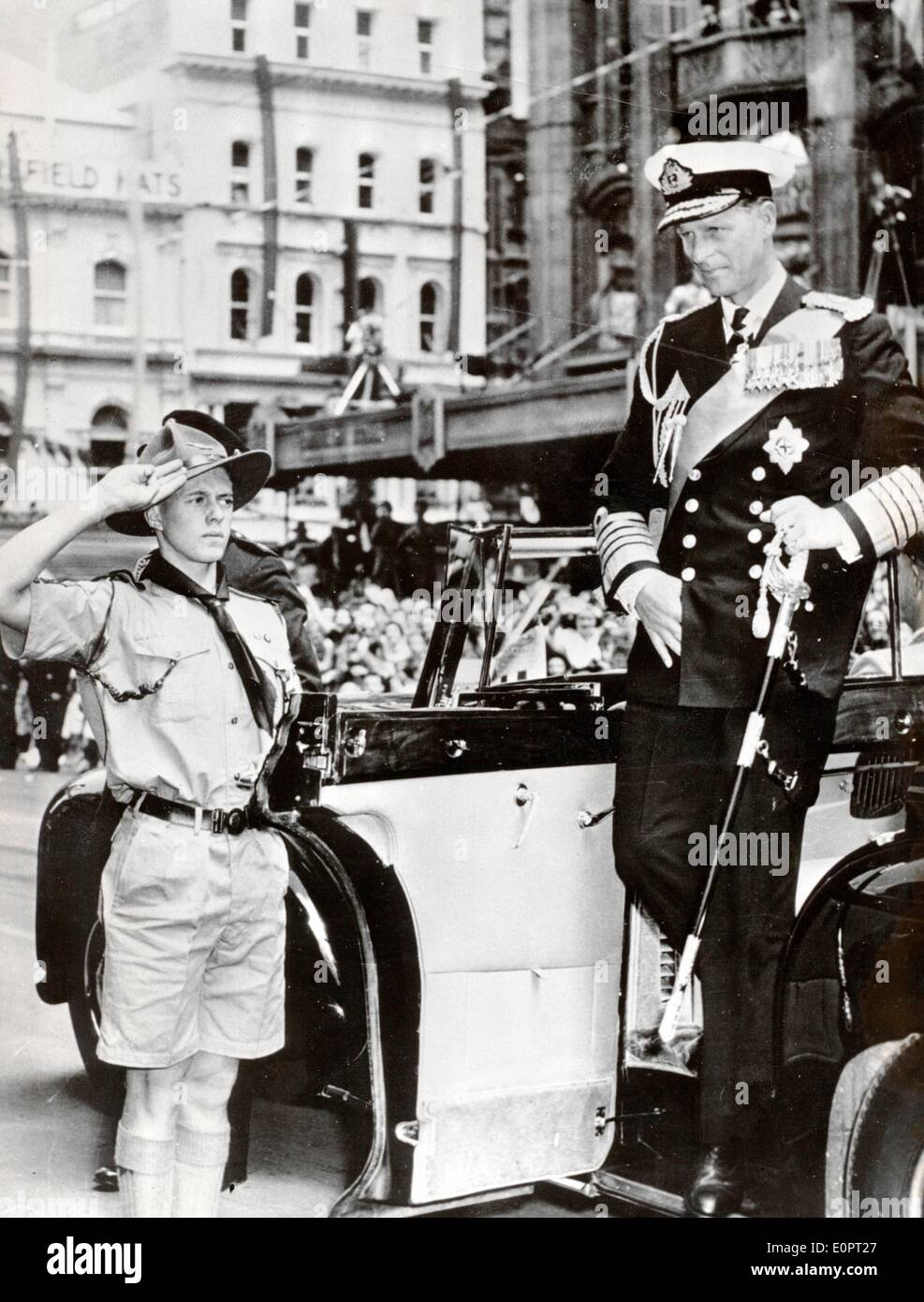 Prince Philip arriving at the Melbourne Olympic Games - Stock Image