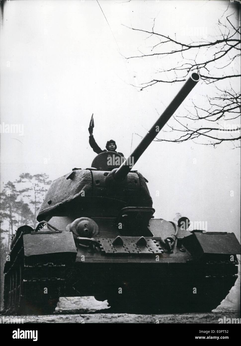 Feb. 02, 1957 - Eastgerman army: First pictures of the eastgerman peoples - army manoeuvre. Photo shows: eastgerman tank (no technical details of tank were given) - Stock Image