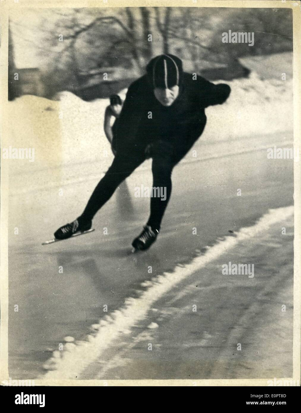 Dec. 12, 1956 - 12-1-56 Soviet skaters prepare for Winter Olympics. Keystone Photo Shows: Russian speed skater, Boris Shilkov, world champion seen at speed whilst practicing for the Winter Olympic Games. - Stock Image