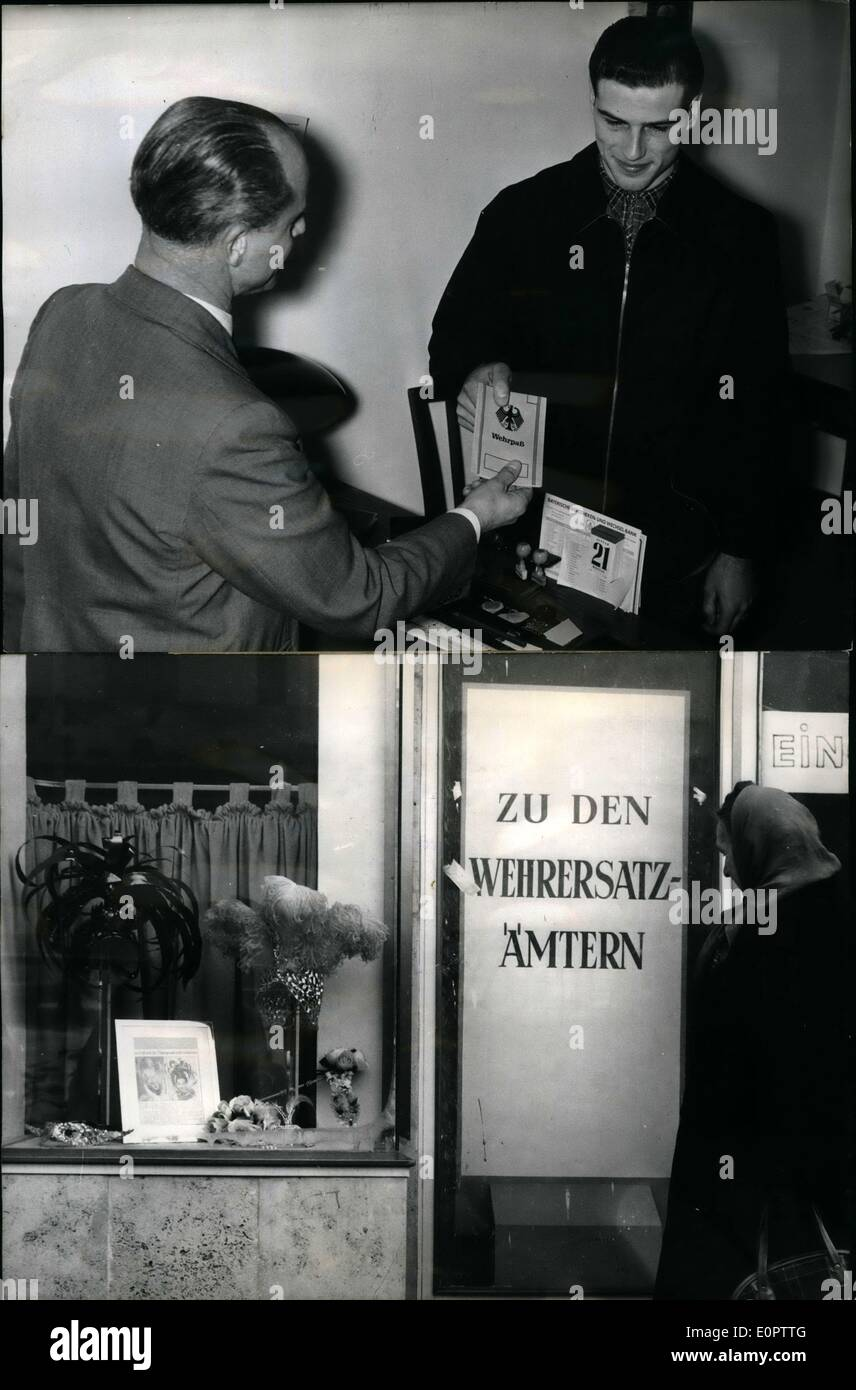 Jan. 01, 1957 - Muster of the soldiers to be of the years 1937: To proof their ability to serve in the new German Army, 15 young men had to appear today (21.1.1957) before a commission of the staff of the new German Army in Munich. The proofing lasted 45 minutes only. Photo shows The soldier to be, who had to appear before the mustering commission could cast a look at the window dressing of a hat saloon where nice models are to be seen, he would like to present to his bride. The saloon is in the same building were the mustering is be done - Stock Image