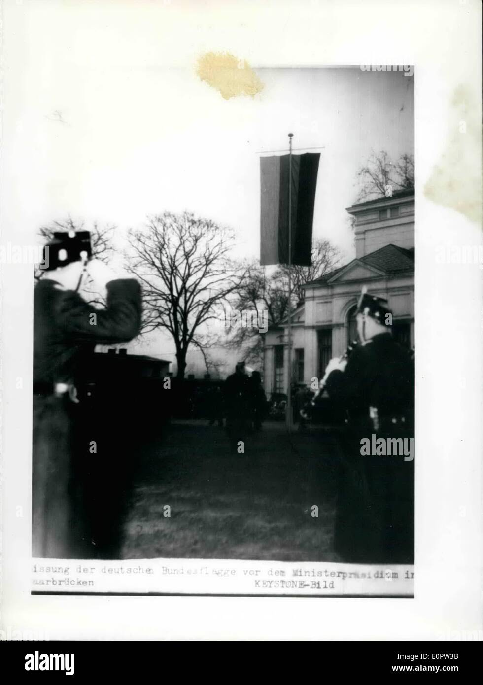 Jan. 01, 1957 - The German flag at the Saar: Since this morning January 1st 57 when the Saar returned to Germany the German Black-red gold flag waves in front of the govern ment building at saarbruecken. Picture by wire from saarbruecken of Jan. 1st 57. - Stock Image