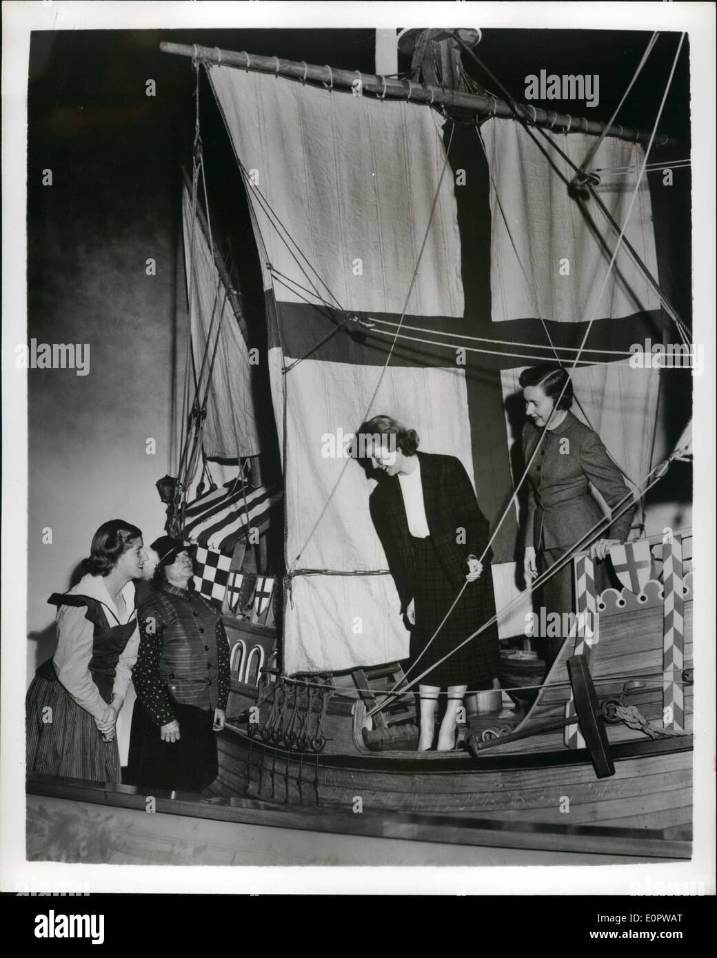 Mar. 03, 1957 - 15th Century Ship Reconstructed For Jamestown Festival: The British Government has installed a 140,000 exhibit - Stock Image