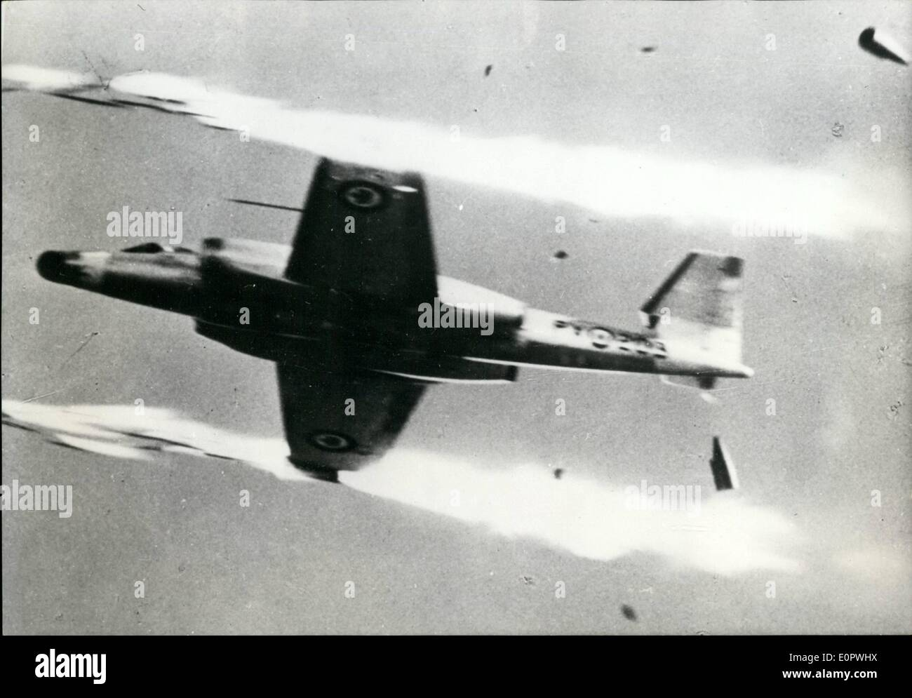 Jan. 01, 1957 - As Quick As A Rocket With her new of 100 MK Canuck fighter Canada is now reported to possess the quickest jet in the world. Equipped with machine guns and rocket supports the new plane can reach the height of 40,000 feet in record time. Ops:- The new Canadian CF-100MK. 4B Canuck at full speed. - Stock Image