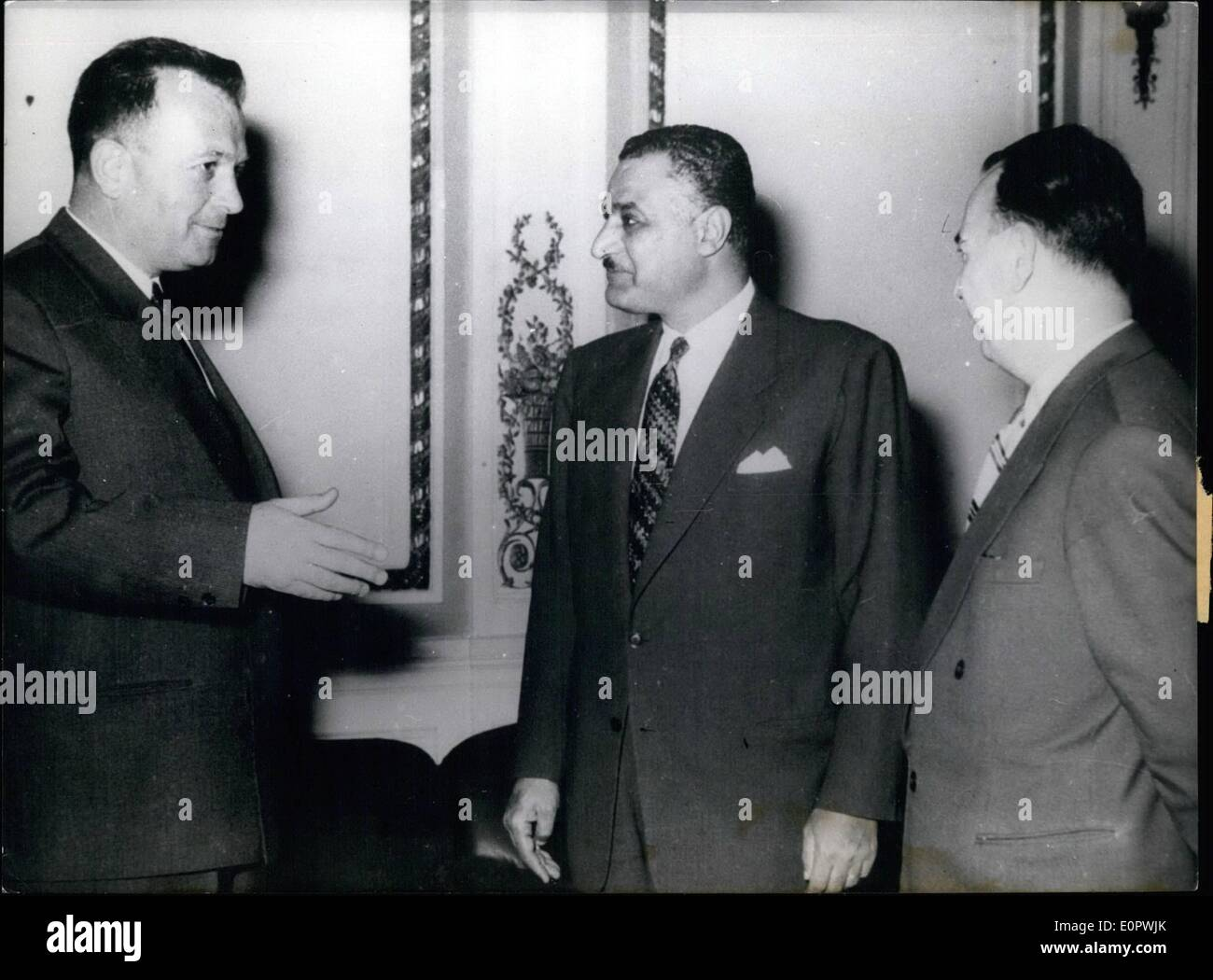 Mar. 03, 1957 - Vice-president of Yugoslavia pays a visit to Nasser. Egypt's President Gamal Abdel Nasser received - Stock Image