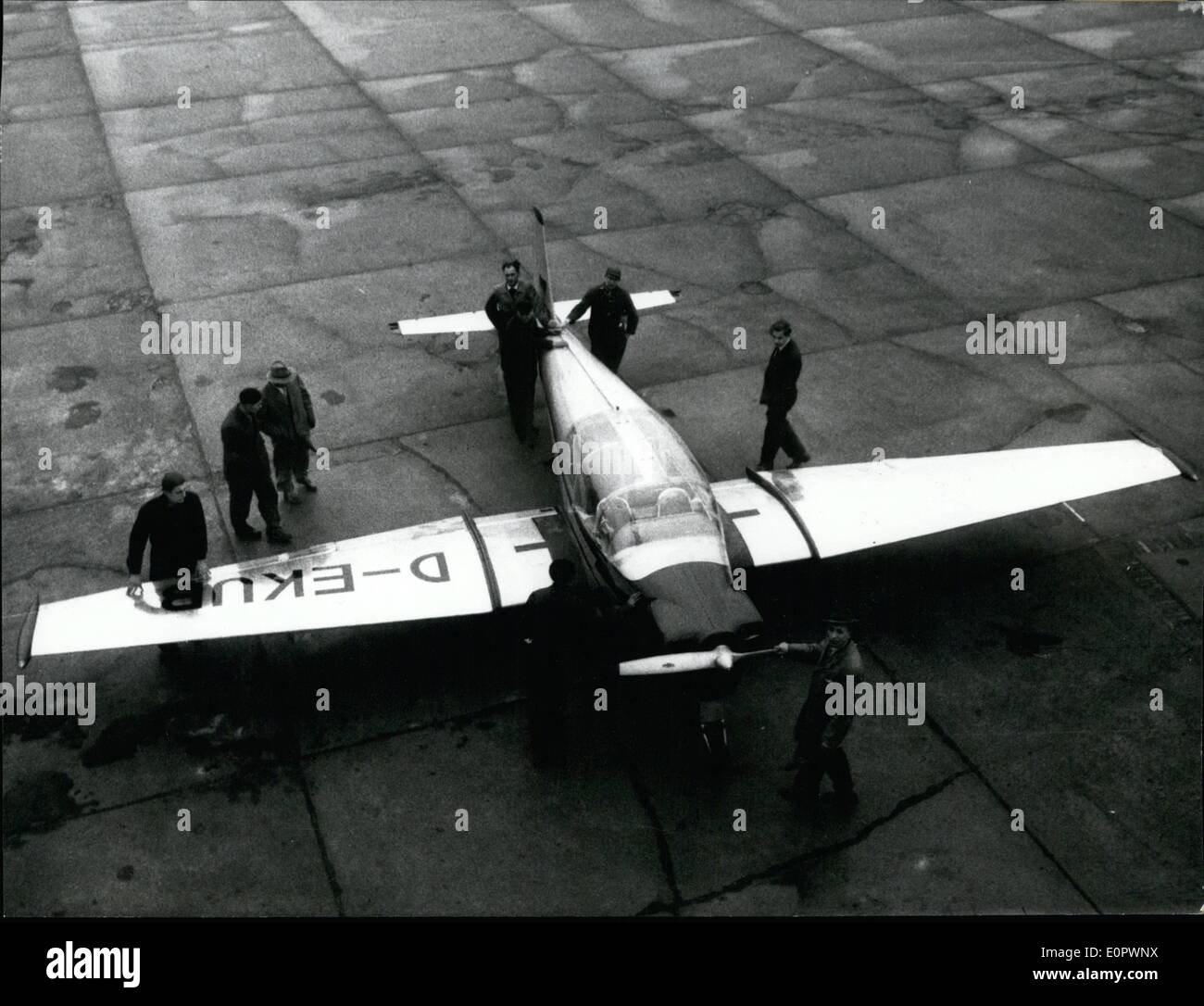 Mar. 03, 1957 - Focke-Wulf is again building airplanes. The Focke-Wulf plant in Bremen has built a BL 500, the first in the post-war period. It was constructed by the former general director of the Arado-Airplane Plant, Prof. Blume, and is a four-seater. It has a 140 HP - Stock Image