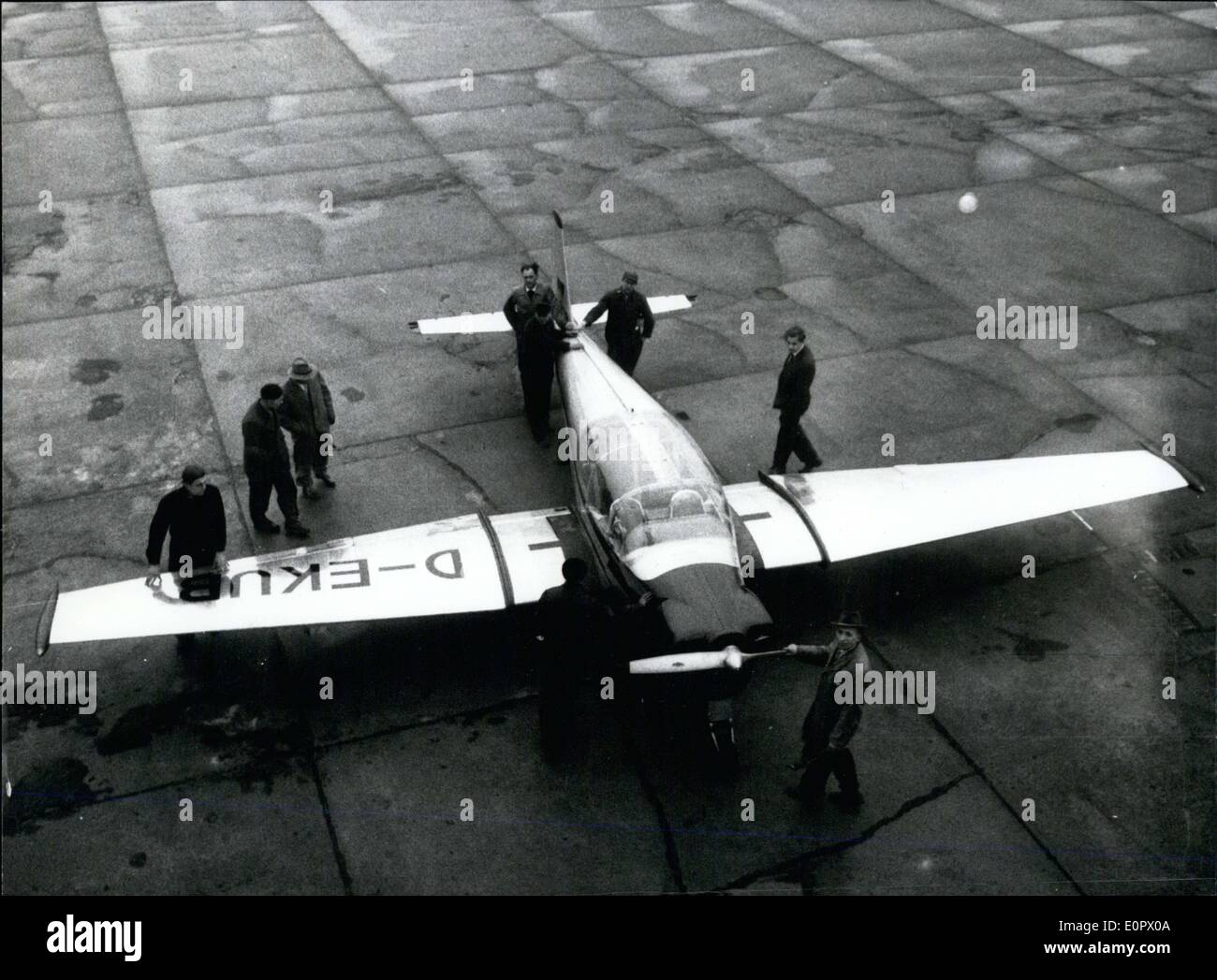Mar. 17, 1957 - The Focke-Wulf company had built the first sport plane in Bremen. The BL 500 is a four seater has a 140HP motor - Stock Image