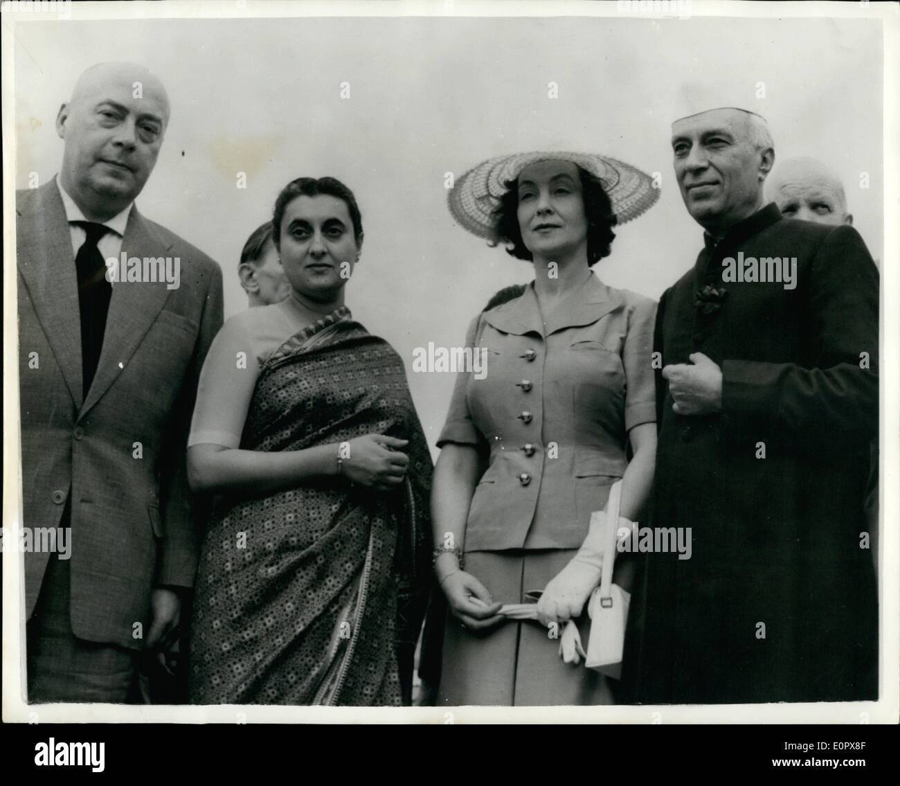 Apr. 04, 1957 - Polish Prime Minister in India.: Poland's Prime Minister Joseph Cvoankiewicz (left) with on right Indian Prime Minister Mr. Nehru during the official visit to New Delhi. The Polish leader and Mr. Nehru signed a cultural agreement on behalf of their Governments - during the visit. - Stock Image