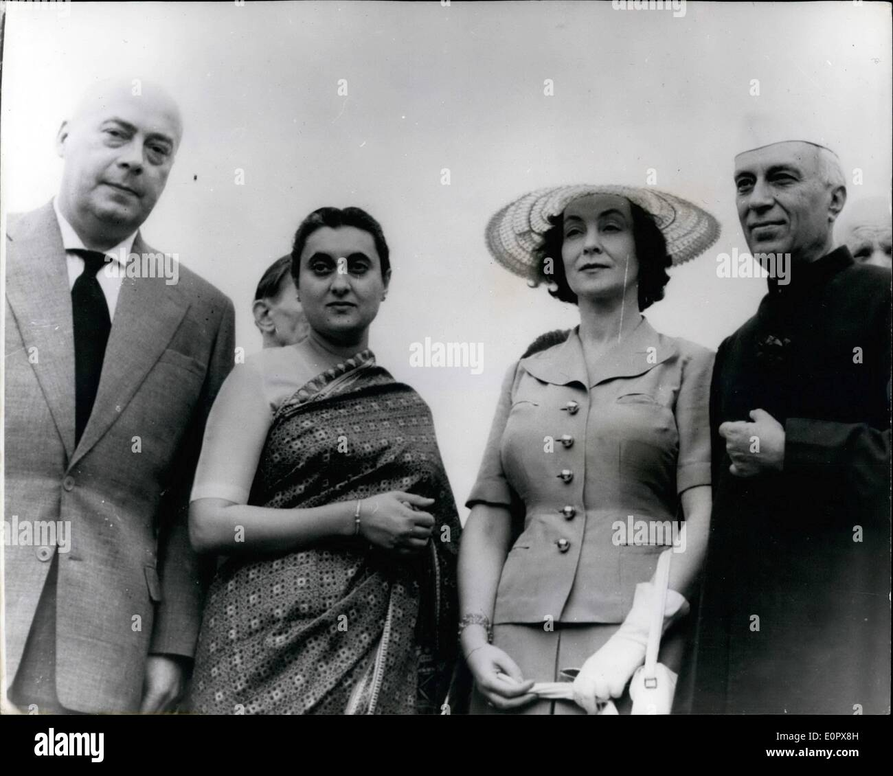 Apr. 04, 1957 - Polish Prime Minister In India: Poland's Prime Minister Joseph Cryankiewicz (left) with on right Indian Prime Minister Mr. Nehru-and to the left-Mrs. Gandhi who acted as hostess -during the official visit to New Delhi. The Polish leader and Mr. Nehru signed a cultural agreement on behalf of their Governments - during the visit. Mrs. Indira Gandhi Becomes India's First Woman Prime Minister. - Stock Image